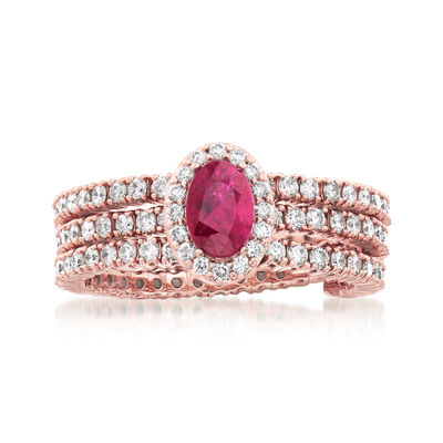 .50 Carat Ruby and Diamond-Accented Wrap Ring in 18kt Rose Gold