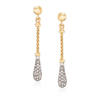 "Phillip Gavriel ""Popcorn"" .26 ct. t.w. Diamond Drop Earrings in 14kt Two-Tone Gold, , default"