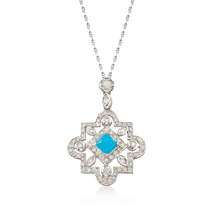 """C. 2000 Vintage Reconstituted Turquoise and .75 ct. t.w. Diamond Necklace in 18kt White Gold. 16"""", , default"""
