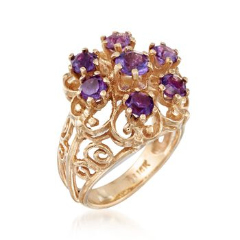 C. 1980 Vintage 1.40 ct. t.w. Amethyst Scrollwork Ring in 14kt Yellow Gold. Size 3.5, , default