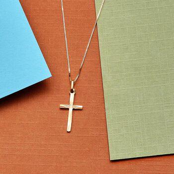 Italian 18kt Yellow Gold Diamond-Cut Cross Pendant Necklace, , default