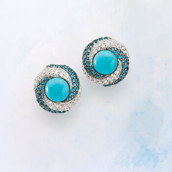 Stabilized Turquoise and 2.10 ct. t.w. White and Blue Topaz Earrings in Sterling Silver
