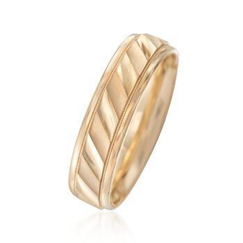 Men's 6mm 14kt Yellow Gold Satin Wedding Ring, , default