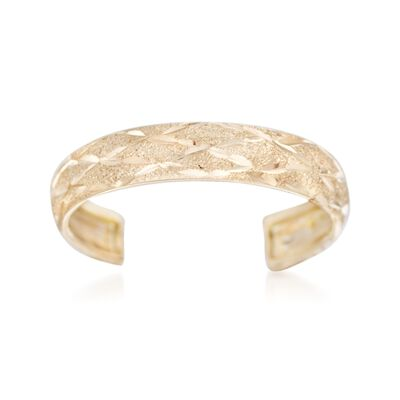 14kt Yellow Gold Diamond-Cut Adjustable Toe Ring, , default