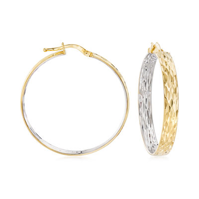 14kt Two-Tone Gold Inside-Outside Hoop Earrings, , default