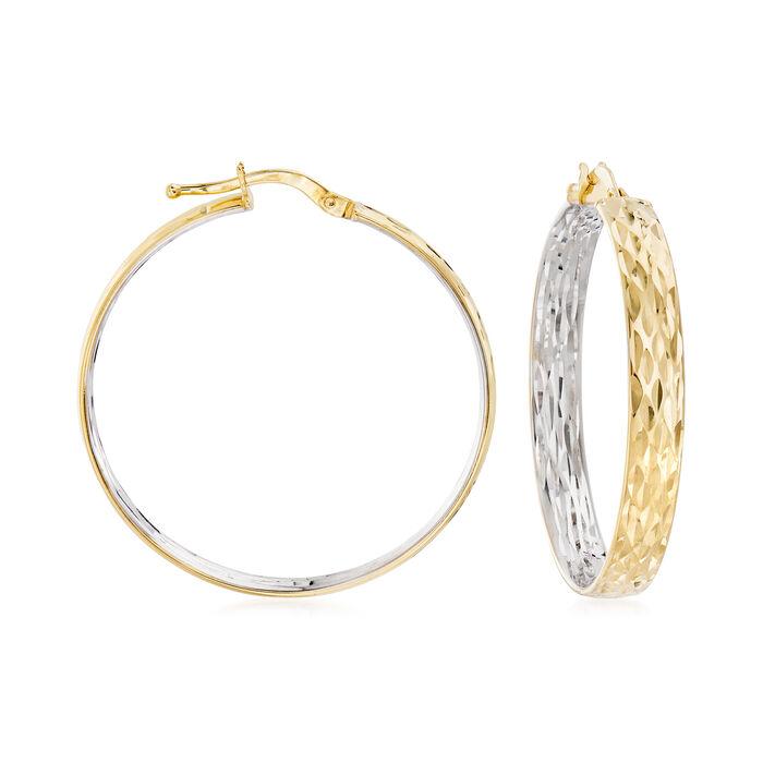"""14kt Two-Tone Gold Inside-Outside Hoop Earrings. 1 1/4"""""""