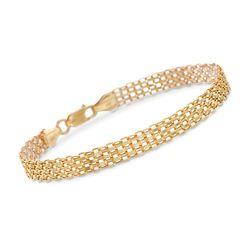 Italian 14kt Yellow Gold Bismark Link Bracelet, , default