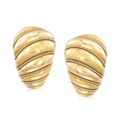 C. 1980 Vintage 18kt Yellow Gold Hammered Earrings, , default