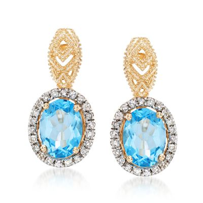 2.40 ct. t.w. Blue Topaz and .27  ct. t.w. Diamond Drop Earrings in 14kt Yellow Gold, , default