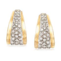 C. 1980 Vintage 1.00 ct. t.w. Diamond J-Hoop Earrings in 14kt Yellow Gold, , default