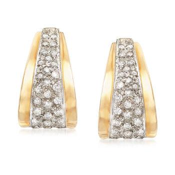 "C. 1980 Vintage 1.00 ct. t.w. Diamond J-Hoop Earrings in 14kt Yellow Gold. 3/4"", , default"