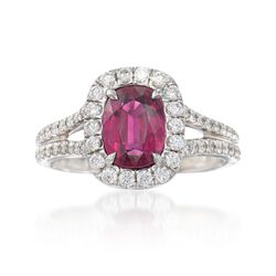 C. 2000 Vintage 1.84 Carat Ruby and .52 ct. t.w. Diamond Ring in 18kt White Gold. Size 5.5, , default
