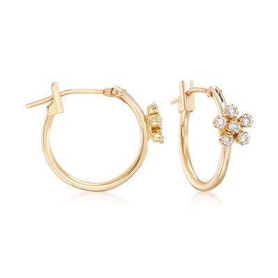 .18 ct. t.w. CZ Floral Motif Hoop Earrings in 14kt Yellow Gold, , default