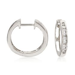 .25 ct. t.w. Diamond Hoop Earrings in 14kt White Gold, , default