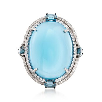 Blue Chalcedony and 1.40 ct. t.w. Blue and White Topaz Ring in Sterling Silver, , default