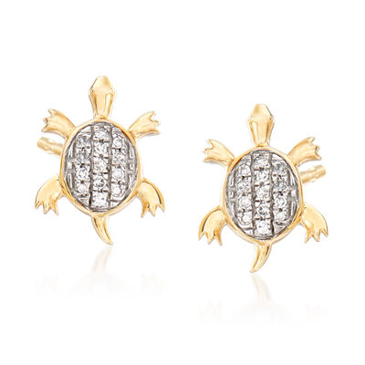 Turtle Earrings with Diamond Accents in 14kt Yellow Gold