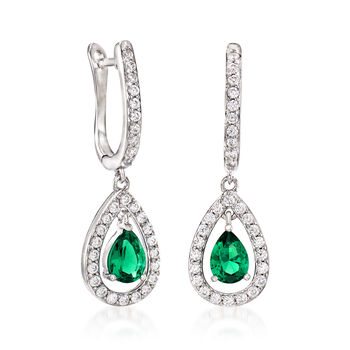 Simulated Emerald and .80 ct. t.w. CZ Drop Earrings in Sterling Silver