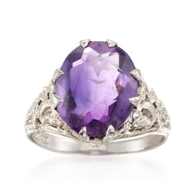 C. 1960 Vintage 3.50 Carat Amethyst Ring in 14kt White Gold, , default