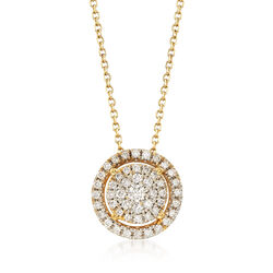 .25 ct. t.w. Pave Diamond Halo Pendant Necklace in 14kt Yellow Gold, , default