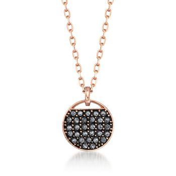 "Swarovski Crystal ""Ginger"" Gray and Clear Crystal Round Pendant Necklace in Rose Gold Plate. 15"" , , default"