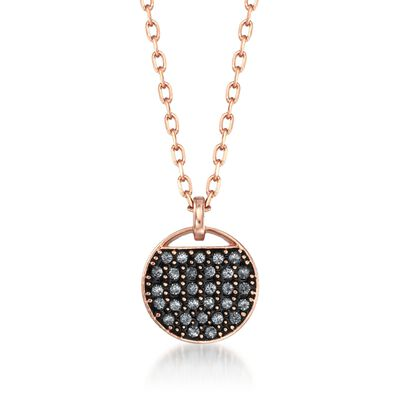 "Swarovski Crystal ""Ginger"" Gray and Clear Crystal Round Pendant Necklace in Rose Gold Plate, , default"