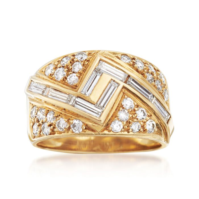 C. 1980 Vintage 1.25 ct. t.w. Diamond Zigzag Ring in 18kt Yellow Gold. Size 6