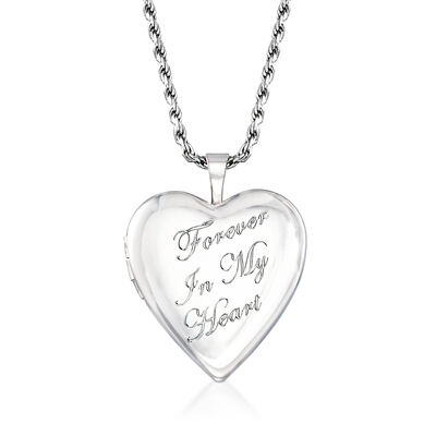 """Forever in My Heart"" Memorial and Photo Locket Pendant Necklace in Sterling Silver, , default"