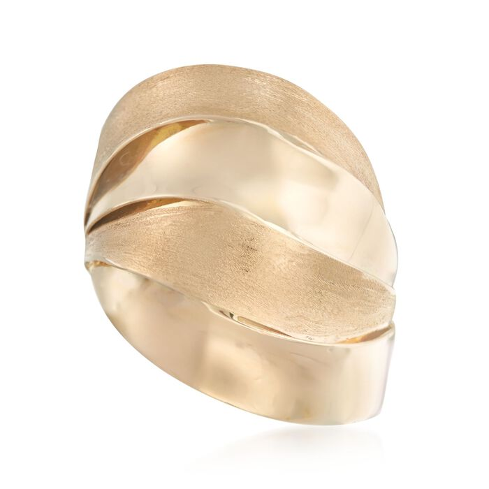 Italian 14kt Yellow Gold Ribbon Ring, , default