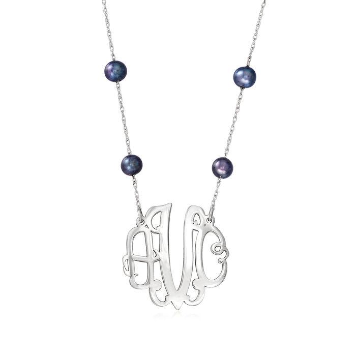 6-7mm Black Cultured Pearl Station Medium Monogram Necklace in Sterling Silver