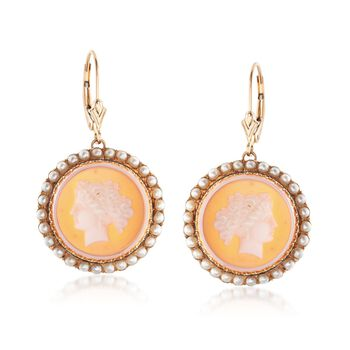 C. 1900 Vintage Carved Agate Cameo Drop Earrings With 2.5mm Pearls in 14kt Yellow Gold , , default