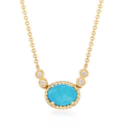 Gabriel Designs Synthetic Turquoise and 1.10 Carat Rock Crystal Quartz Necklace With Diamond Accents in 14kt Gold, , default
