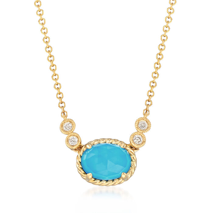 """Gabriel Designs Synthetic Turquoise and 1.10 Carat Rock Crystal Quartz Necklace with Diamond Accents in 14kt Gold. 15.5"""", , default"""