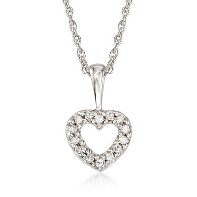 Child's Heart Diamond Accent Necklace in 14kt White Gold, , default