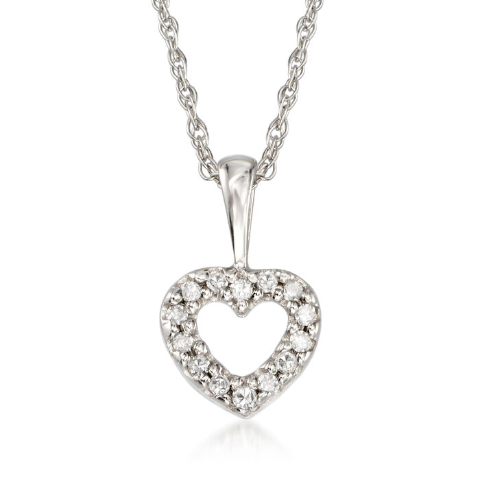 "Child's Heart Diamond Accent Necklace in 14kt White Gold. 15"", , default"