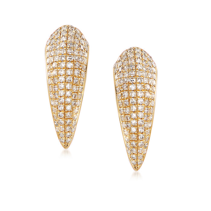 .81 ct. t.w. Pave Diamond Curved Front-Back Drop Earrings in 14kt Yellow Gold