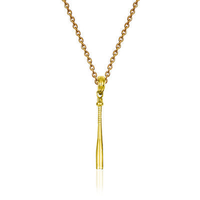 "14kt Yellow Gold 3-D Baseball Bat Pendant Necklace. 18"", , default"