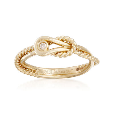 "Phillip Gavriel ""Italian Cable"" 14kt Yellow Gold Ring With Diamond Accent, , default"