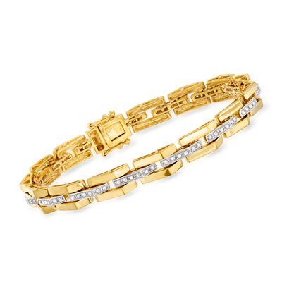.57 ct. t.w. Diamond Link Bracelet in 18kt Yellow Gold Over Sterling, , default