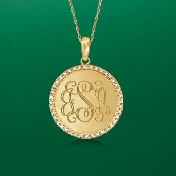 .12 ct. t.w. Diamond Engravable Disc Necklace in 14kt Yellow Gold, , default