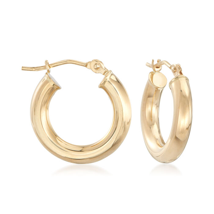 "3mm 14kt Yellow Gold Huggie Hoop Earrings. 1/2"", , default"