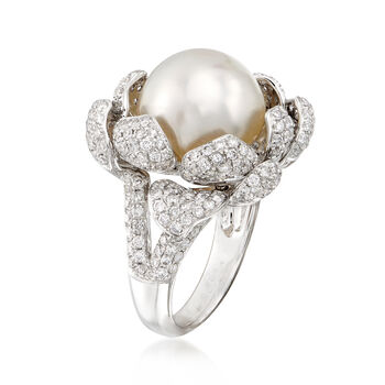 13.5mm Cultured South Sea Pearl and 2.35 ct. t.w. Diamond Floral Ring in 18kt White Gold. Size 7
