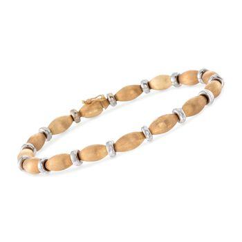"C. 1980 Vintage 18kt Two-Tone Gold Chiampesan Gioielli Bead Bracelet. 8"", , default"