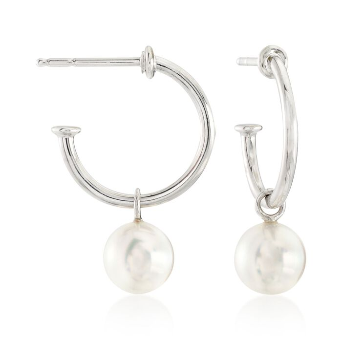 "Mikimoto ""Classic"" 7mm A+ Akoya Pearl C-Hoop Drop Earrings in 18kt White Gold"