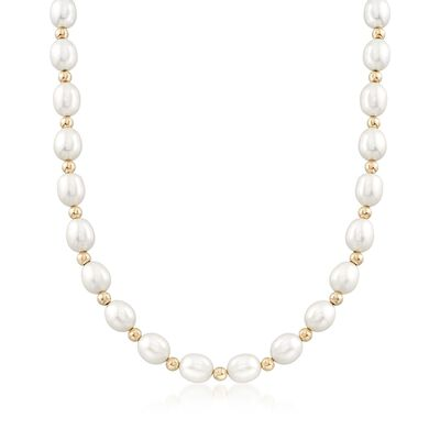 8-9mm Cultured Oval Pearl Necklace With 14kt Yellow Gold, , default