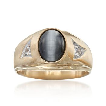 C. 1970 Vintage 9x7mm Synthetic Cat Eye Chrysoberyl Ring With Synthetic Spinels in 10kt Gold. Size 9, , default