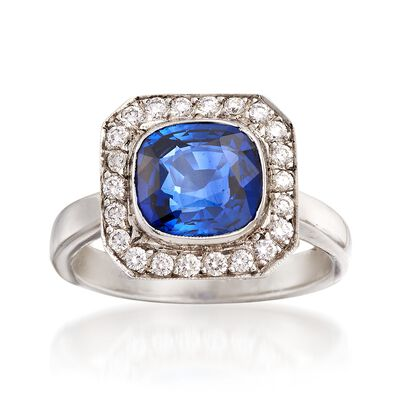 C. 2000 Vintage 3.18 Carat Sapphire and .75 ct. t.w. Diamond Ring in Platinum