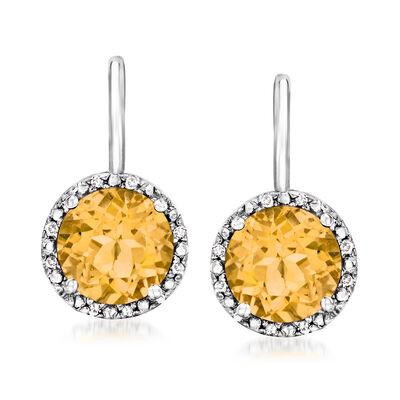 2.40 ct. t.w. Citrine Drop Earrings with Diamond Accents in Sterling Silver