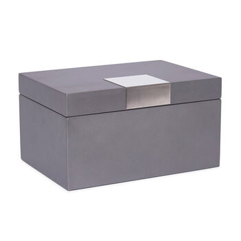 """Brouk & Co. """"Bradford"""" Gunmetal Wooden Jewelry Chest with Tray, , default"""