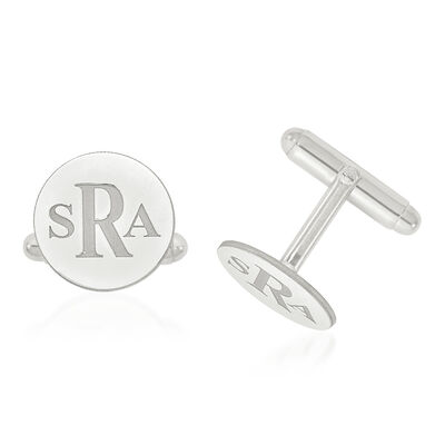 14kt White Gold Laser Recessed Letters Circle Monogram Cuff Links, , default
