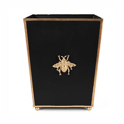 """""""Regency Bee"""" Black Square Wastebasket"""